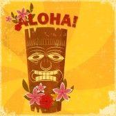 Tiki : Vintage carte postale hawaïenne - invitation à la fête Beach - illustration vectorielle