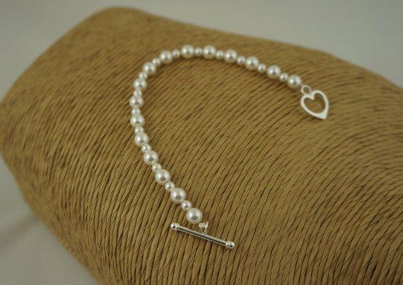 Pearl Bracelet  Bridal Jewellery Swarovski by Makewithlovecrafts