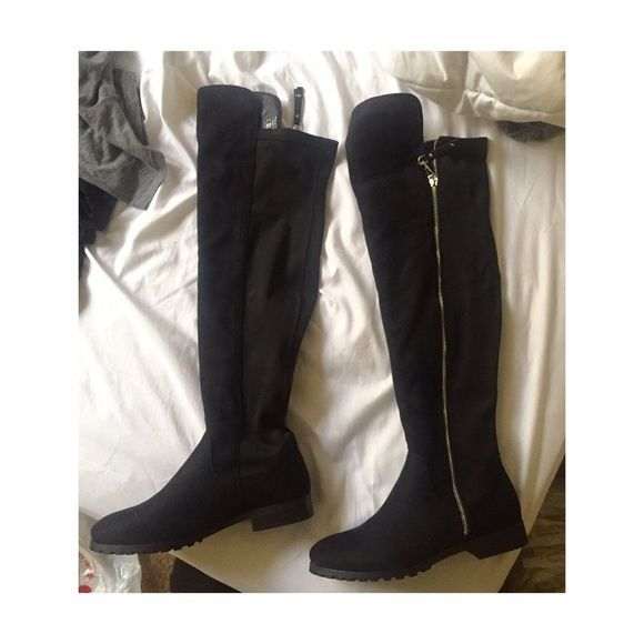 Aldo Thigh High Boots Brand new Aldo thigh high black faux suede boots size 8. This comes with the box. Never been used. $50 ALDO Shoes Over the Knee Boots
