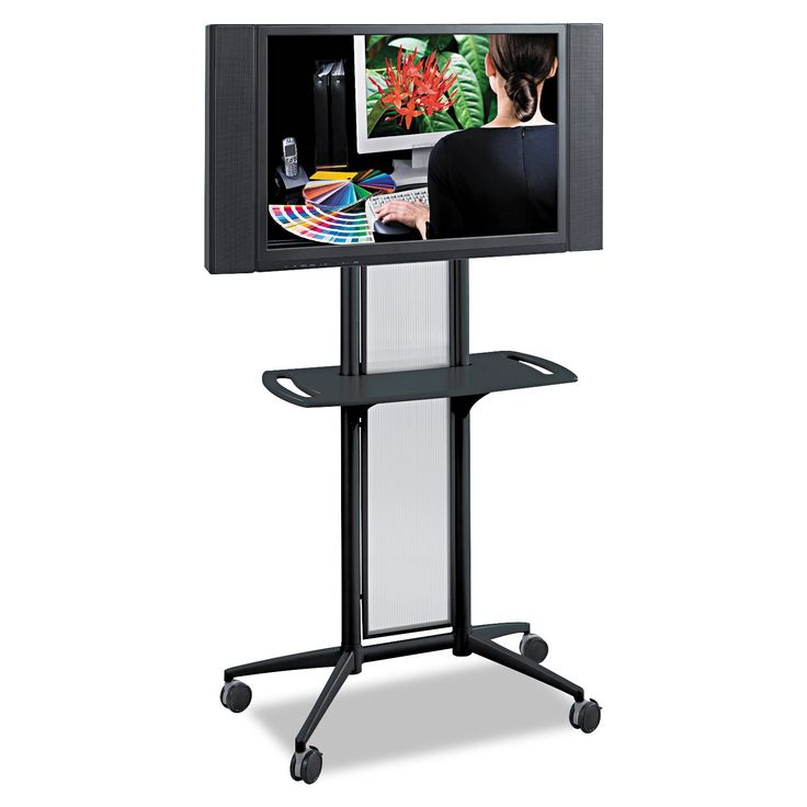 """Safco Products 8926BL Impromptu Flat Panel TV Cart , Black Frame. Impromptu flat panel AV / Media cart, 65 1/2""""H. Holds monitors up to 42"""". Translucent polycarbonate panel(s), steel frame with powder coat finish for durability. Durable furniture grade wood with stain and scratch resistant laminate finish top. Complements entire line of Impromptu products."""