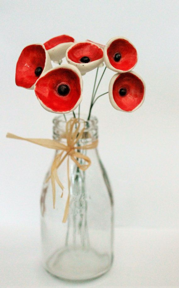 Seven red porcelain poppies ceramic flowers by jessicaceramics