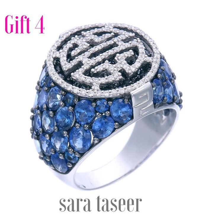 It's not just of gift. It's a prayer -----the prayer of longevity to live a happy long peaceful and healthy life what a fabulous gift for the season of Christmas. this sapphire and diamond signet ring will bring a smile on the face of ladies and gentlemen alike. Available only at the boutique of Sara Taseer in Singapore at the Hilton Hotel on Orchard Road#beautiful #sophisticated #bold #finejewelry #diamond #gold #singapore #create #art #design #ring #sapphire #signetring #lingevity