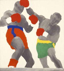 amare-habeo:    Konrad Lueg (Konrad Fischer) (German,1939-1996) Boxer, 1964 Casein tempera on canvas, 110 x 100 cm