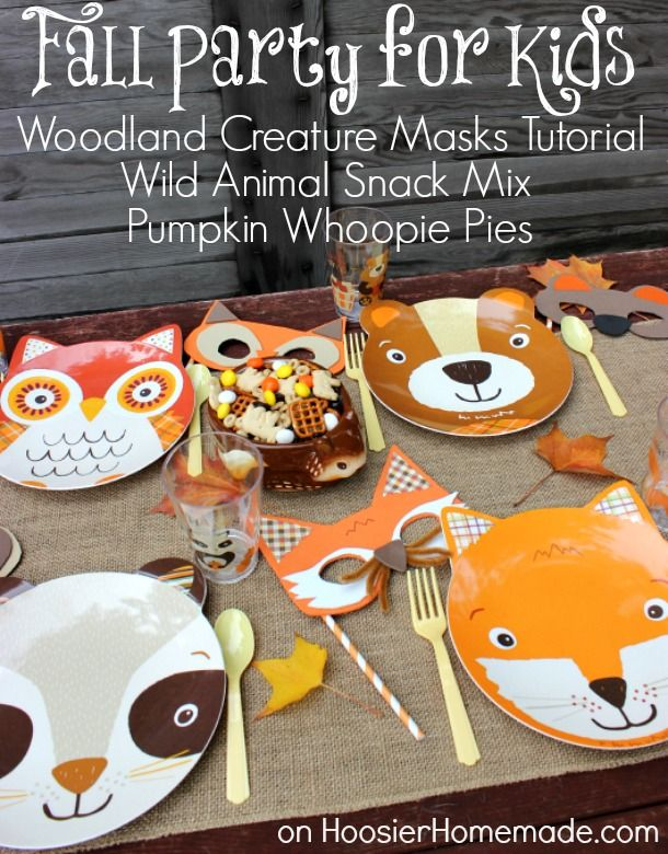 Adorable Fall Party for Kids with Woodland Creature Mask Tutorial :: HoosierHomemade.com