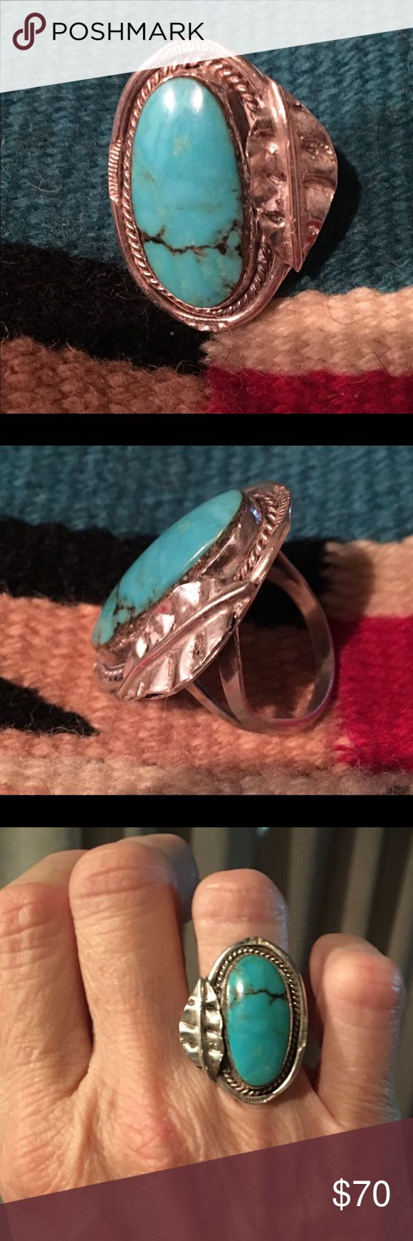 Old Pawn Turquoise & Sterling Silver Ring It's a large ring, 1 1/2 inches long & 1 inch wide.  Gorgeous piece of turquoise!  It has no hallmark on it. Jewelry Rings