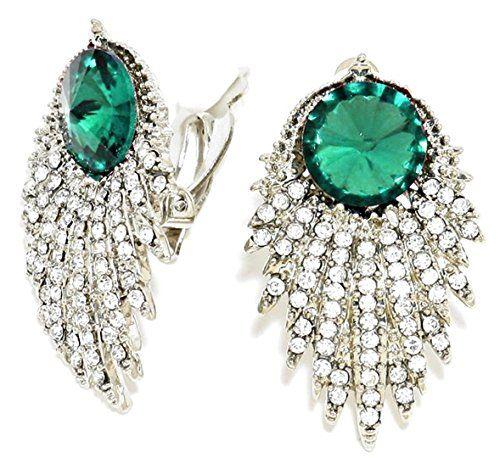 Fancy Earrings Z11 Emerald Green Clear Crystal Evening Bridal Clip On Silver Tone Recyclebabe Earrings http://www.amazon.com/dp/B014JJDXZ6/ref=cm_sw_r_pi_dp_SF23vb164T524