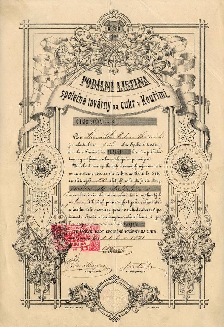 Společná továrna na cukr v Kouřimi (Gemeischaftliche Zuckerfabriks- Gesellschaft in Kourim). Podílový list na 1/2 akcie v nominální hodnotě 100 Zlatých. Kouřim, 1871.