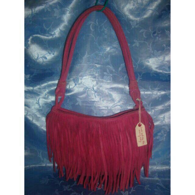 Missy's AMERICAN EAGLE Pink Suede Leather Shoulder Bag