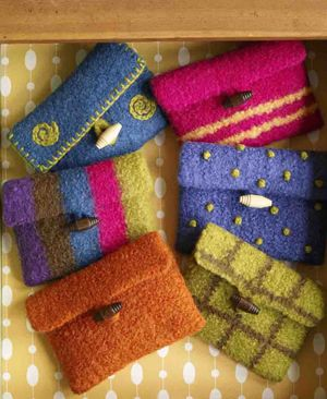 Make It Yours Purses - felted knitting projects from Lion Brand. Great project for using up leftovers from other felting projects!