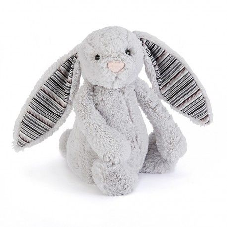 JELLYCAT - Peluche lapin gris rayures grises