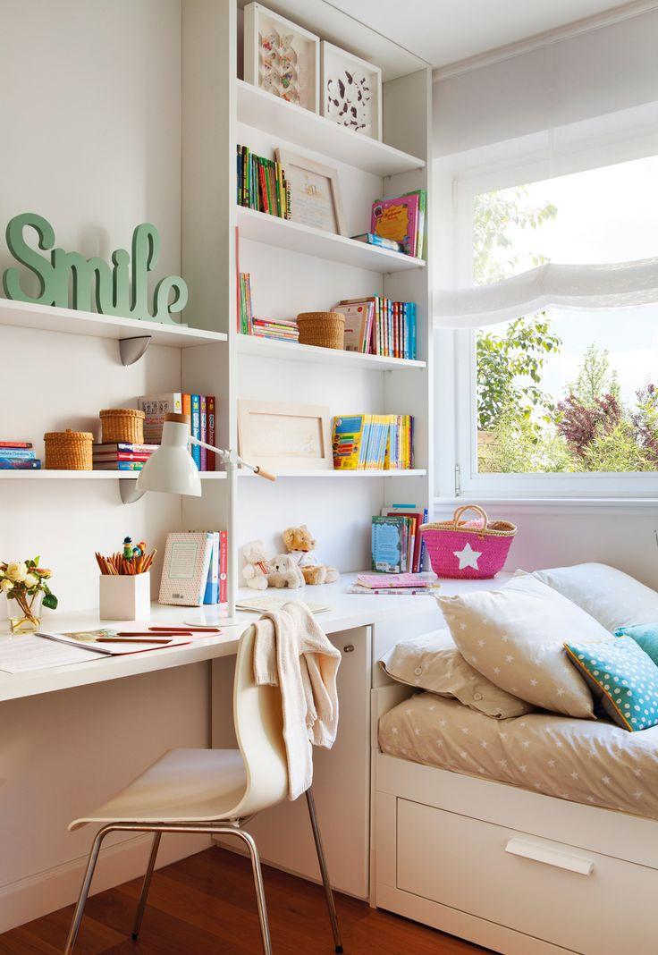 00423371. Habitación juvenil con cama, estantería y librería  00423371