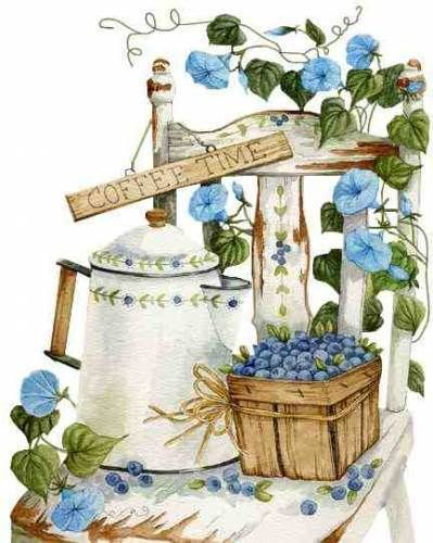 Coffee time - with blueberries! Painted by Diane Knott for Legacy Publishing Group