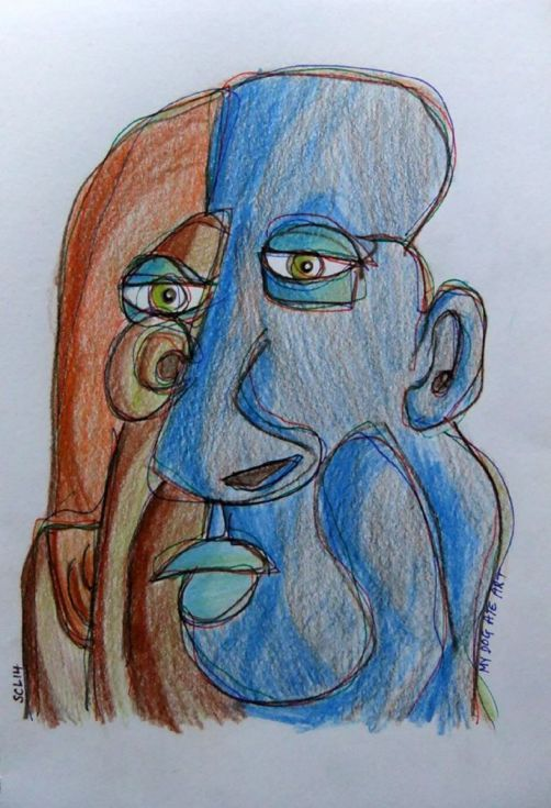 ARTFINDER: Partly Blue by Steve Clement-Large - What's not to like about a statue like face with possibly 3 ears ? A tiny bit of ink line work amidst the coloured pencil.