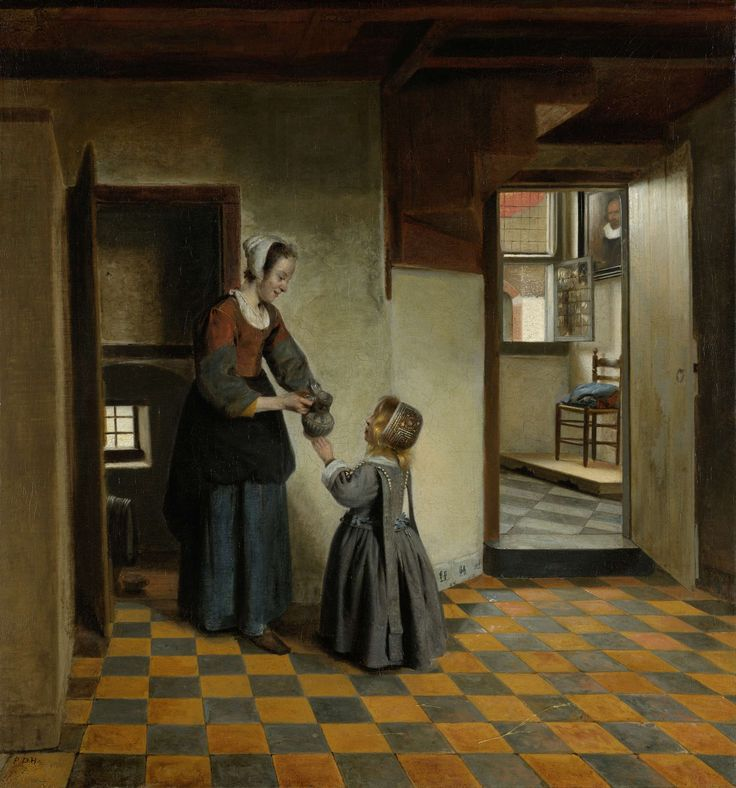 Woman with a Child in a Pantry, Pieter de Hooch, c. 1656 - c. 1660  oil on canvas, h 65cm × w 60.5cm.  The color on the floor is a very important part of this painting.  It brings the floor to life.   I believe without the color the image would not stand out as much.  If this was a charcoal painting, the room would not come to life.