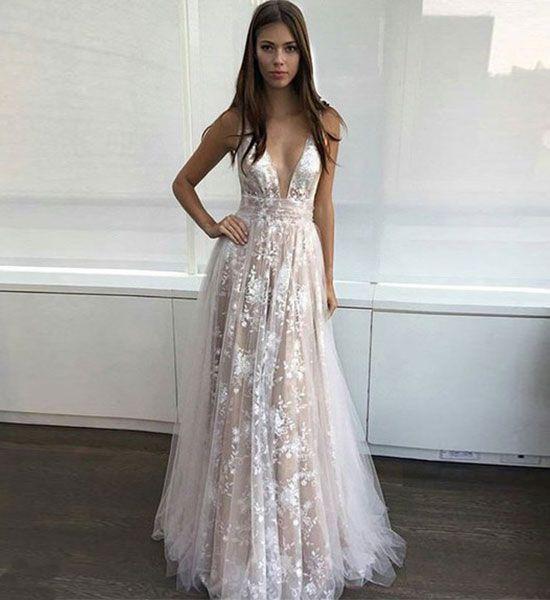 white v neck <b>lace tulle long</b> prom dress, white evening dresses for ...