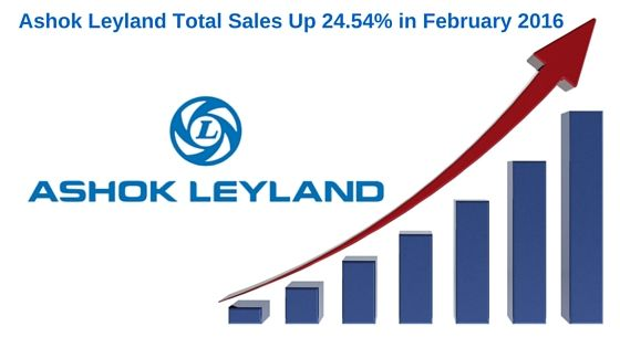 Ashok Leyland Total Sales Up 24.54% in February 2016 Ashok Leyland, the big commercial vehicle manufacturer in India, has registered the growth of 24.54% with the total sales of 13,403 vehicles in February 2016.