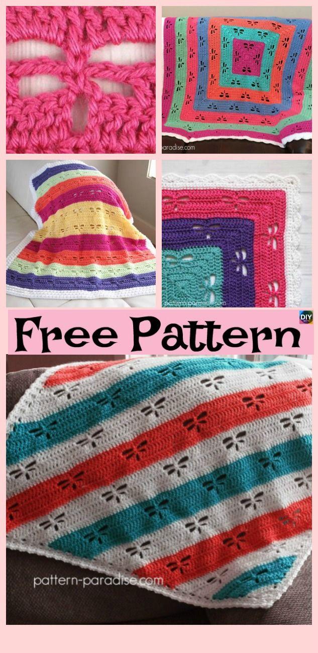 Crochet Dragonfly Stitch Blanket Free Patterns Crochet