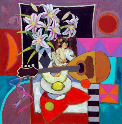 This piece by Jack Morocco is called  'Bacchus & Mandolin' he has created this painting using Oil on canvas.