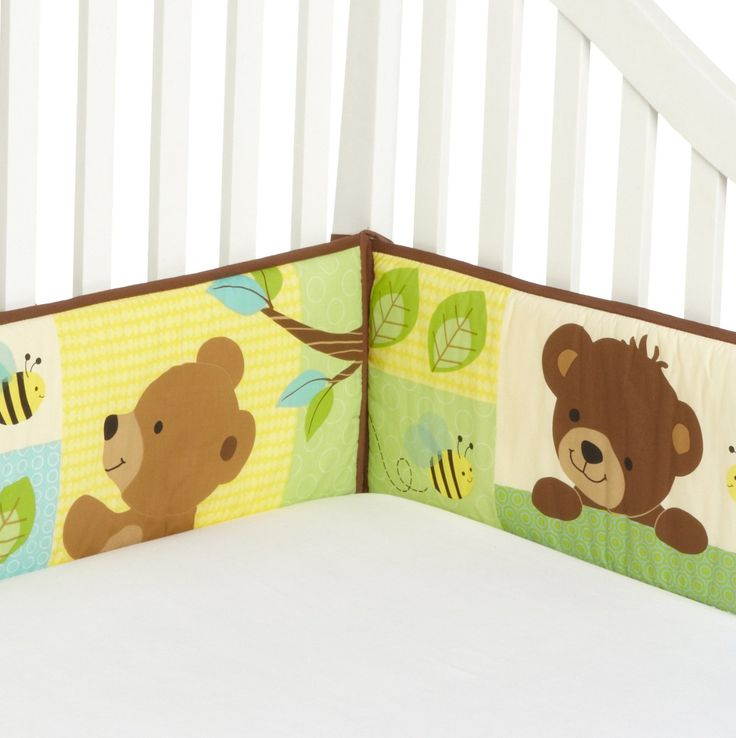 You have four bears hanging out around a tree with a pot of honey and some friendly bees flying around. Description from babybeddingandaccessories.com. I searched for this on bing.com/images