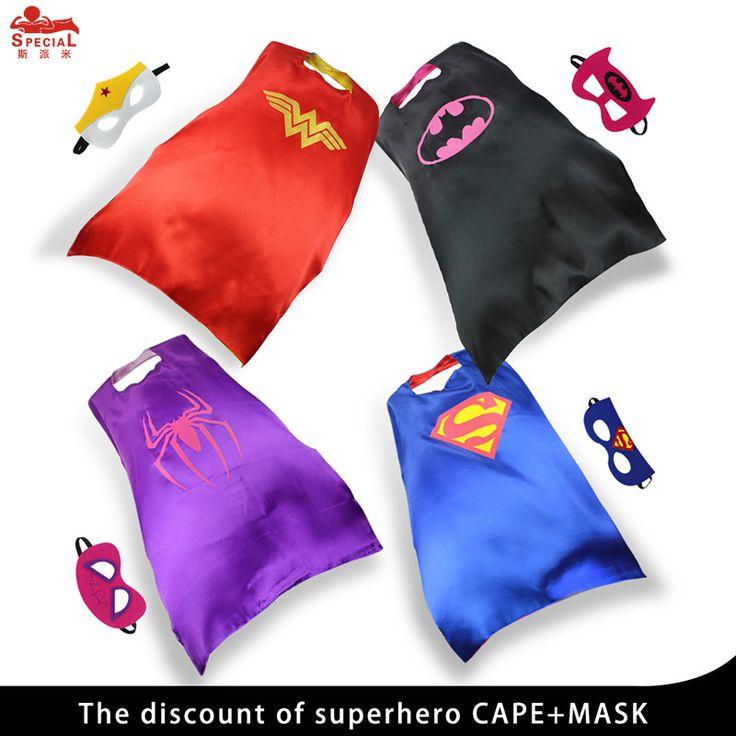 4 capes+masks Children superhero costumes party wonder woman cape mask dress up decorative cloak cape Halloween girl brand gifts #Affiliate