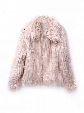 Nude Pink Vintage Style Faux Fur Coat