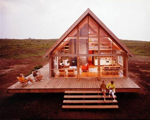 This beautiful prefab cabin serves as Jens Risom's getaway home. It's nestled among Bayberry fields on Block Island, a popular summer tourist destination, located approx. 13 miles south of the coast of Rhode Island.