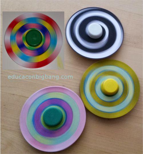Mezcla de colores con una  peonza hecha con un CD