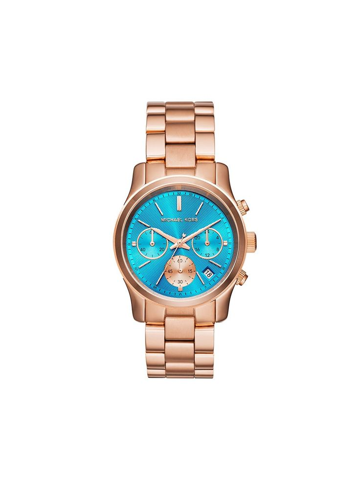 Michael Kors Blue Dial Rose Gold Tone Chronograph Ladies Watch MK6164