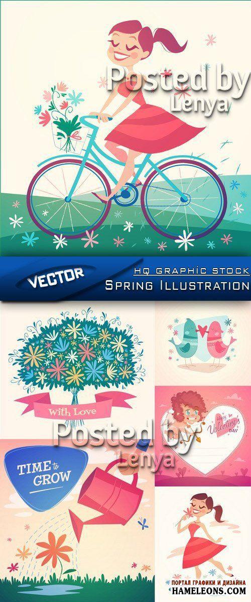 Весенние и летние иллюстрации - букет цветов, девушка на велосипеде, птички с сердечком, сердце с амуром, девушка с цветком - Векторный клипарт | Spring love vector