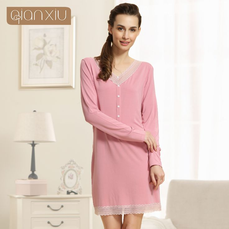 Cheap underwear female, Buy Quality underwear style directly from China underwear zebra Suppliers: Qianxiu Nightgown For Women  Knitted Modal Underwear V-neck Knee-length Sleepwear Sexy Lace Sleepshirts