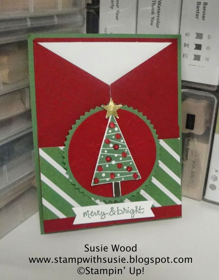 Stampin' Up!- A fun fold card using the 'Festival of Trees' stamp set & coordinating Tree Punch!!  LOVE IT!