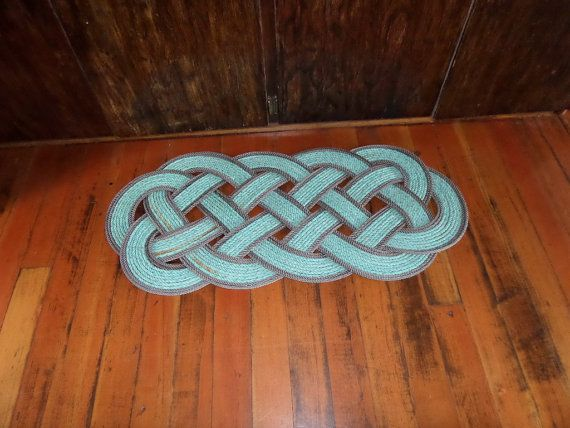 "40"" x 18"" Rope Rug Green with Double Brown Accent Perfect at Lake, Beach, Cabin,Nautical Rustic Doormat"