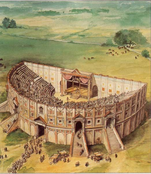 Camulodunum. The footings of this theatre are still on the Gosbecks land Colchester, Essex.