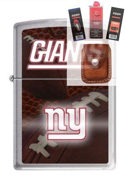 Zippo 2538 New York giants nfl logo Lighter  FUEL FLINT WICK POUCH GIFT SET