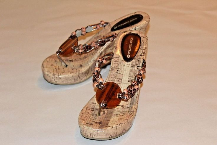 BODY CENTRAL Womens Sandal 7 Faux Cork Platform Wedge Padded Inner Pristine MINT #BodyCentral #wedge #Casual