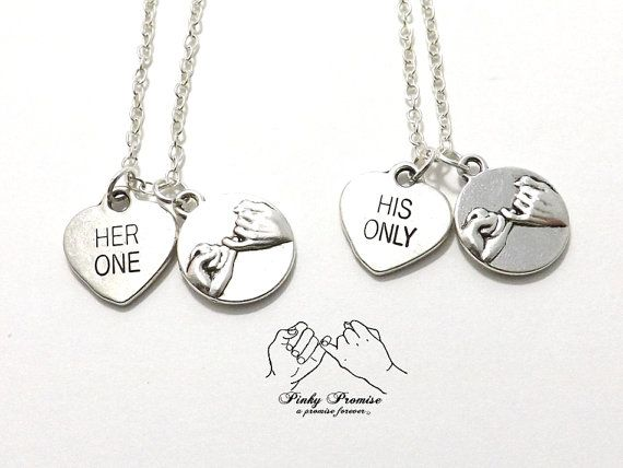 2 Her One His Only Pinky Promise Necklaces  Silver by koolstuff2, $33.99