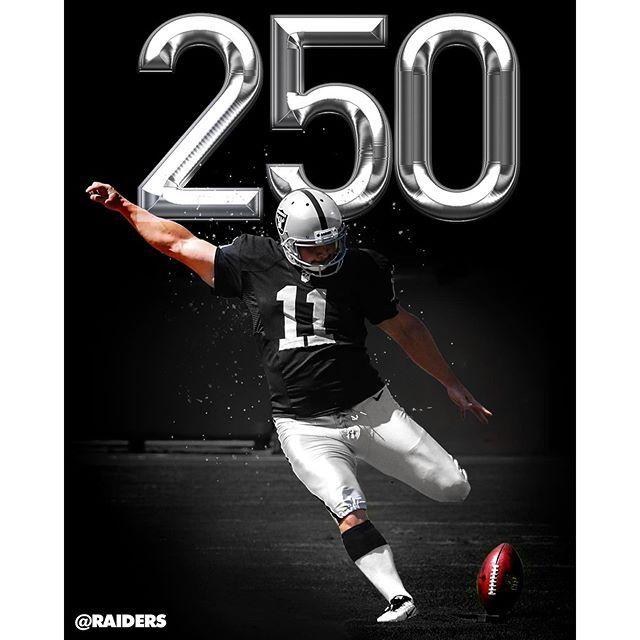 Today 12/20/2015 marks the 250th career game for Sebastian Janikowski, all with the Silver and Black. #Seabass #Janikowski #Raiders #Veteran #MakingHistory #RaiderNation #StillBetterKickerThanMostOutThere