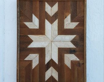 Reclaimed Hout Wall Art, Decor, Quilt blokontwerp, lat. kunst, ster, natuurlijke hout kleur, rustieke, kunst, geometrisch ontwerp, mozaïek kunst
