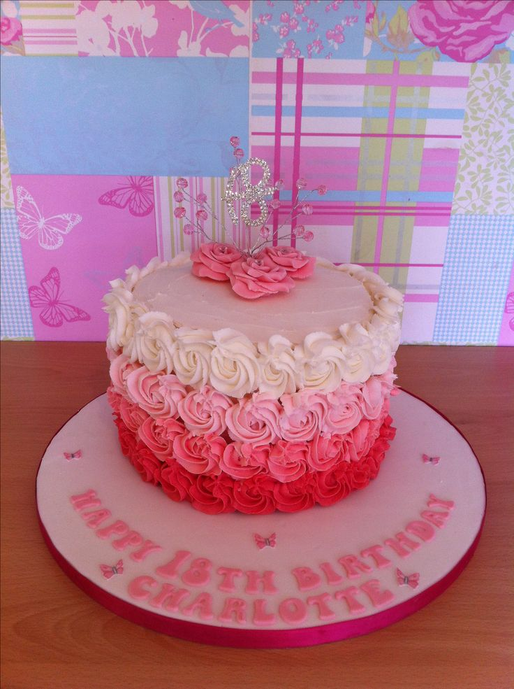 Buttercream rose piped 18th birthday cake schyler turns for 18th cake decoration
