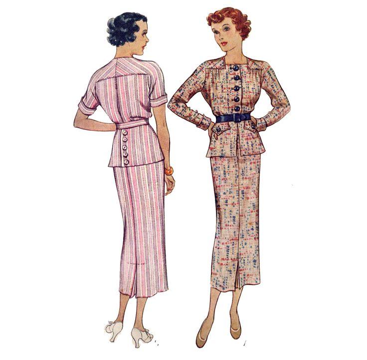 anni trenta pulsante frontale, abito a due pezzi - Vintage cucire modello - McCall 8131 di PatternAndStitch su Etsy https://www.etsy.com/it/listing/126624597/anni-trenta-pulsante-frontale-abito-a