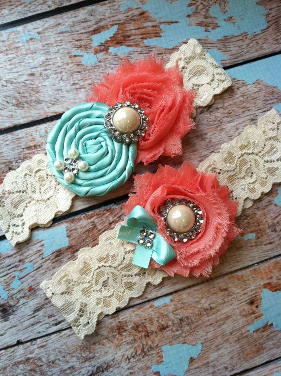 Wedding garter SET / Tiffany blue / Coral  / wedding garters/ bridal  garter/  lace garter / toss garter / vintage lace garter. $24.99, via Etsy.