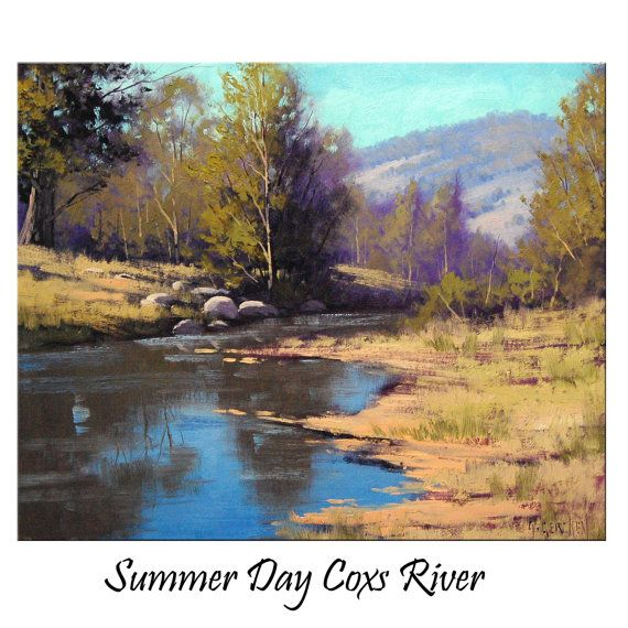 pictures of oil painted rivers | COXS RIVER Oil Painting commissioned australian landscape fine art by ...