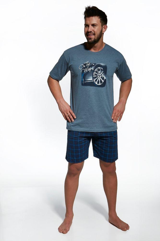 Pyjama homme court été Bleu gris  On the way  Cornette S M L XL 2XL qualité