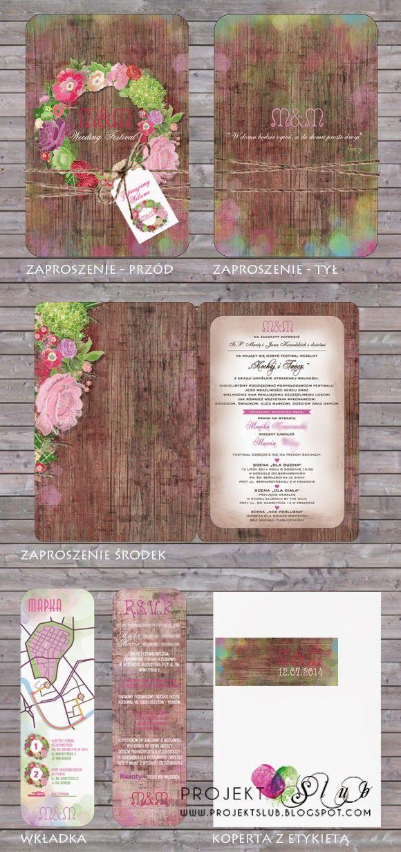 Projekt Ślub - papeteria ślubna, zaproszenia i dodatki na wesele, indywidualne projekty : Zaproszenia w stylu vintage z motywem kwiatów - Wedding Festival