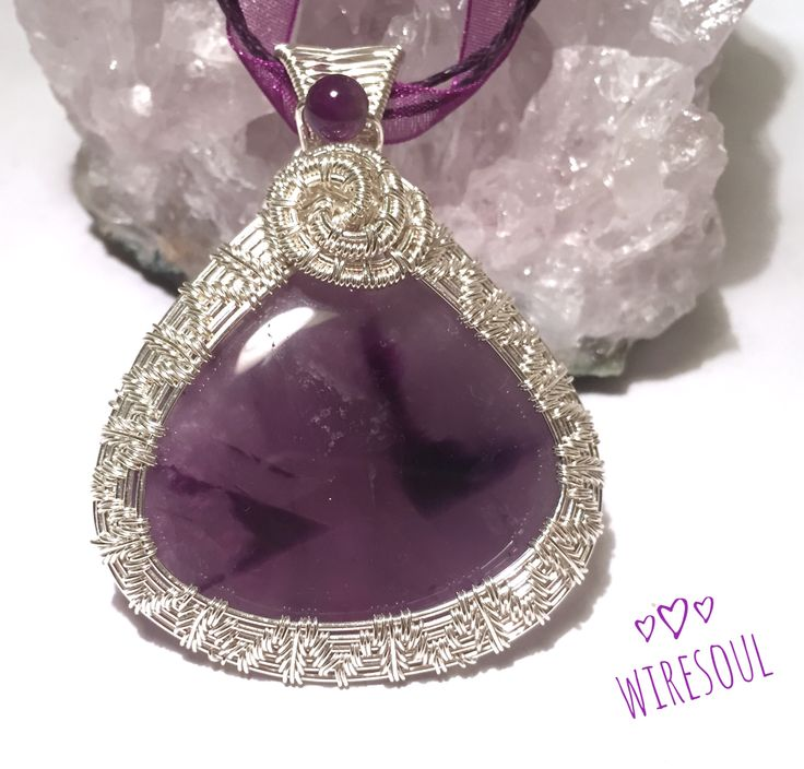 Wire wrapped jewerly, wire wrapped pendant, amethyst pendant