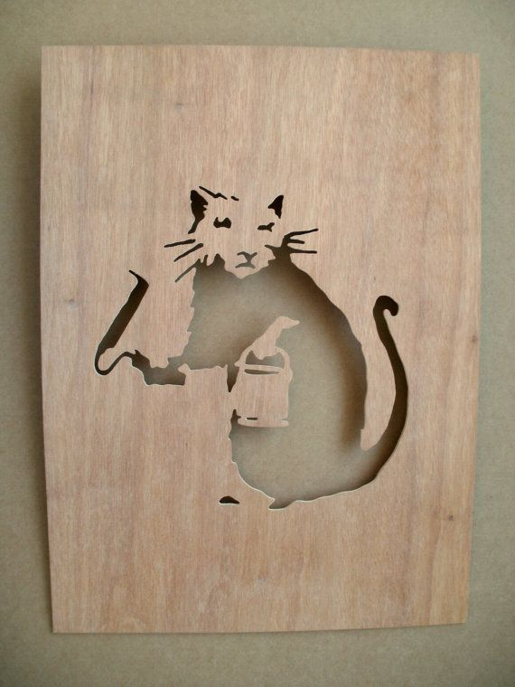 Banksy Paint Roller Rat  Wooden Stencil by existencil on Etsy