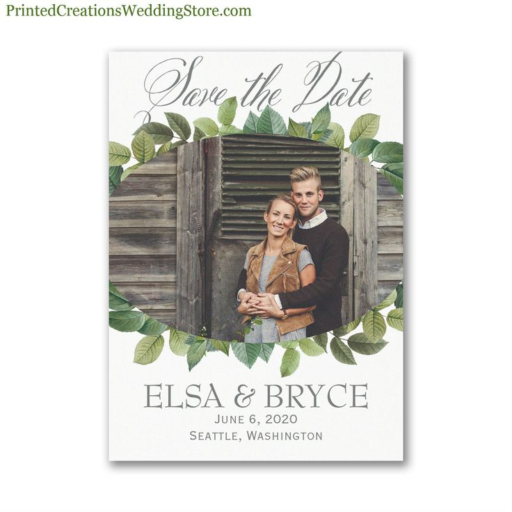 Lovely Leaves Save the Date Magnet - share your favorite photo while announcing your upcoming wedding date on this charming magnet that family & friends can easily display.  See this design and many more save the date magnets & cards at www.printedcreationsweddingstore.com/save-the-date.php.  #savethedates