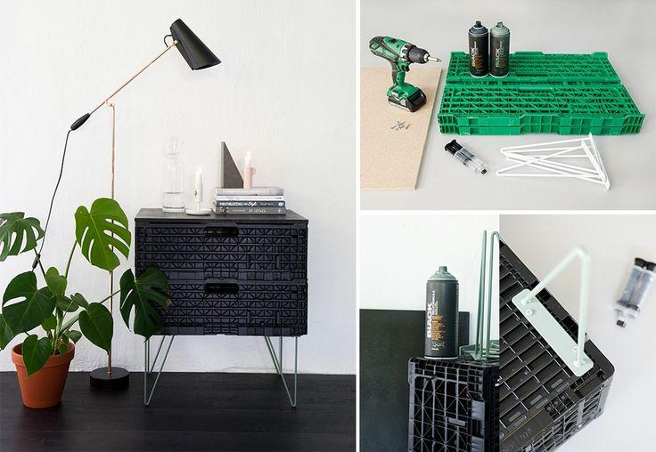 DIY: lage bord av grønne plastkasser med spraymaling, mdf-plate og bein