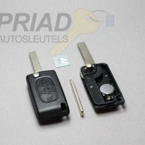 """Citroen 3-knops klapsleutel met """"lamp"""" knop voor C4. Batterij achterkant zonder groef   S-0303"""