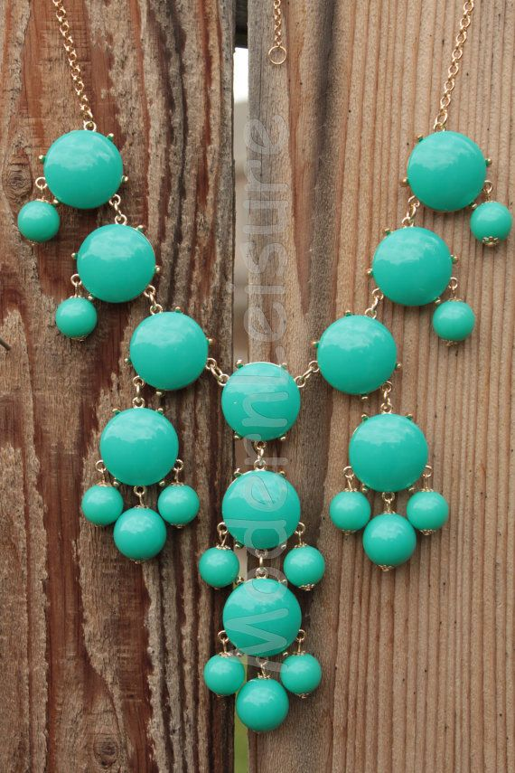 USAAA      Turquoise necklace Bubble necklace for girls Bib by ModernLeisure, $12.99